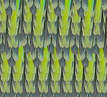 texture and background of colorful feathers of a parrot green by alicara