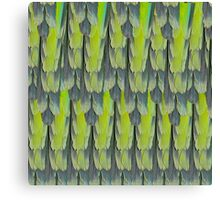 texture and background of colorful feathers of a parrot green Canvas Print