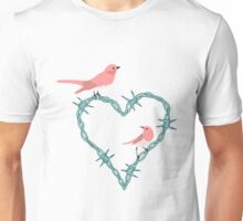 Barbed Wire Heart Birds Unisex T-Shirt