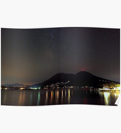 Nighttime Over Clear Lake  Poster