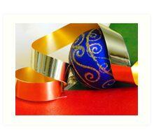 Blue Ball and Ribbon Art Print