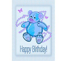 Blue Baby Bear Happy Birthday card Photographic Print