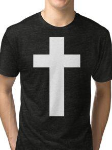 Cross (Faithful to God) [dark] Tri-blend T-Shirt