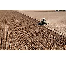 tractor ploughing field Photographic Print