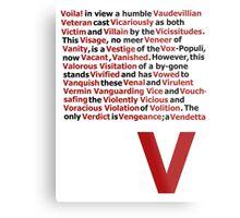 V for Vendetta- V Speech Metal Print