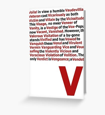 V for Vendetta- V Speech Greeting Card