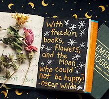 Freedom, Books, Flowers, and the Moon by SproutingVision