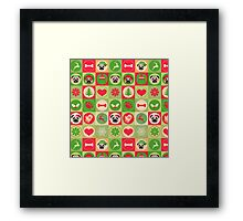 Super Cute Christmas Pug - Green, Red, Background Framed Print