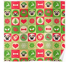Super Cute Christmas Pug - Green, Red, Background Poster
