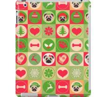 Super Cute Christmas Pug - Green, Red, Background iPad Case/Skin