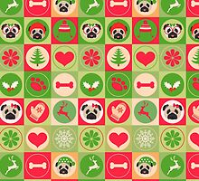 Super Cute Christmas Pug - Green, Red, Background by pugmom4
