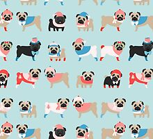 Super Cute Christmas Pugs on Light Blue Background by pugmom4