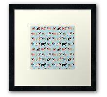 Super Cute Christmas Pugs on Light Blue Background Framed Print