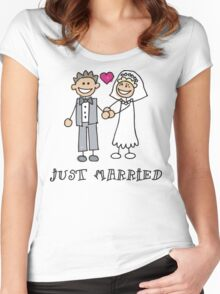 """Wedding Day """"Just Married"""" Women's Fitted Scoop T-Shirt"""