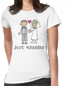 """Wedding Day """"Just Married"""" Womens Fitted T-Shirt"""