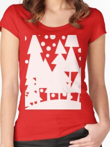 White Christmas Trees Women's Fitted Scoop T-Shirt