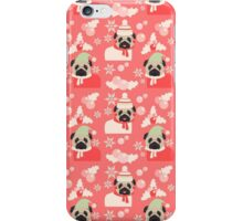 Holiday Pugs on Pink Background 2 iPhone Case/Skin