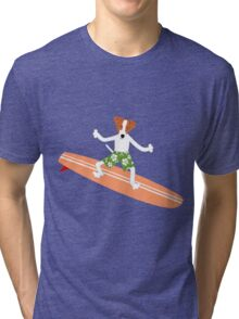 Jack Russell Terrier Surfer Tri-blend T-Shirt