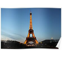 Spring Eiffel Tower at Night Poster
