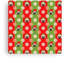 Christmas Pugs and Flowers on Red, Green Stripes Canvas Print