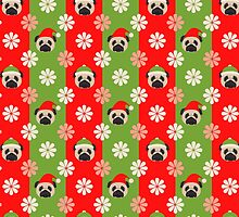 Christmas Pugs and Flowers on Red, Green Stripes by pugmom4