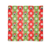 Christmas Pugs and Flowers on Red, Green Stripes Scarf
