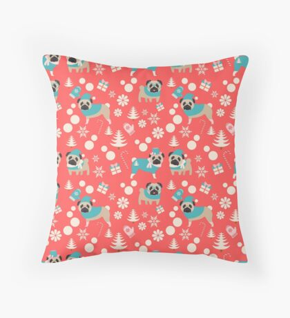 Holiday Pugs in Sweaters Throw Pillow