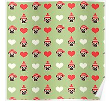 Holiday Pugs and Hearts - Soft Green Background  Poster
