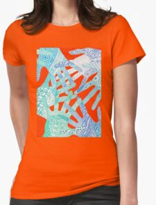 All Hands In- Orange/ Blue Womens Fitted T-Shirt