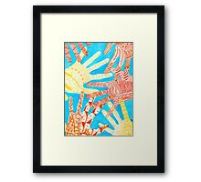 All Hands In- Blue/ Yellow Framed Print