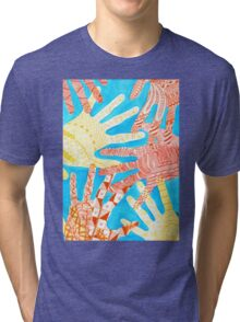 All Hands In- Blue/ Yellow Tri-blend T-Shirt