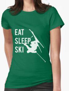 Eat Sleep Ski Womens Fitted T-Shirt