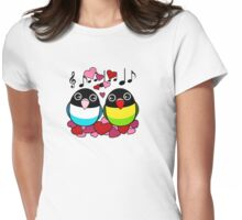 Black masked lovebirds in love Womens Fitted T-Shirt