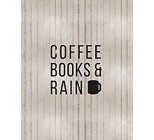 Coffee Books & Rain Photographic Print