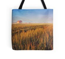 sunrise over misty wheat field Tote Bag