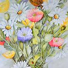 Fledgling wren,Icelandic Poppies and Daisies by Jorja