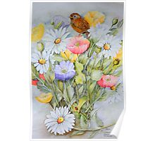 Fledgling wren,Icelandic Poppies and Daisies Poster
