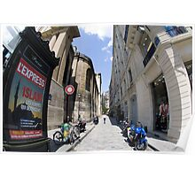 Parision street scene with fish eye lens Poster