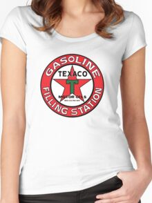 TEXACO VINTAGE OLD GASOLINE MOTOR Women's Fitted Scoop T-Shirt