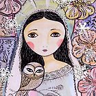 Christmas angel with owl by sue mochrie