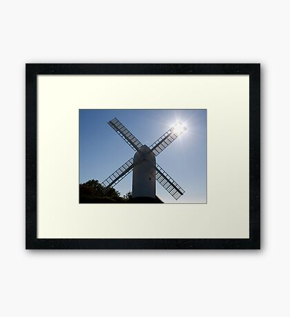 Windmill and sun rays Framed Print