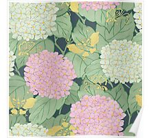 Hydrangeas and Butterflies - Such A Perfect Summer Day Poster