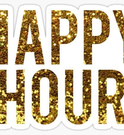 Gold Glitter Happy Hour Sticker