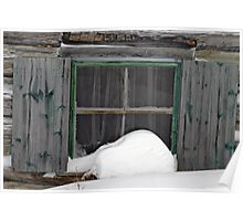 Snow on the Old Cabin Window - Dunrobin Ontario Poster