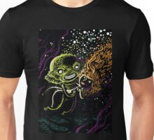 Lagoon monster in the deep with a nice lady Unisex T-Shirt