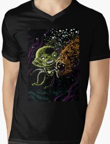 Lagoon monster in the deep with a nice lady Mens V-Neck T-Shirt