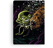 Lagoon monster in the deep with a nice lady Canvas Print