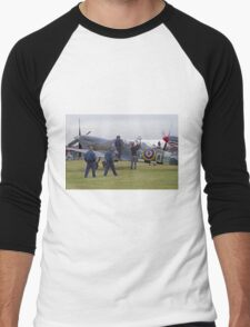 Spitfire at Commemoration of The Hardest Day took place at Biggin Hill Airport Men's Baseball ¾ T-Shirt
