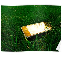 Golden iPhone on the lawn Poster