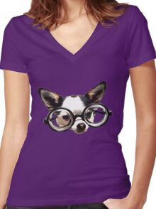 Funny Chihuaua Women's Fitted V-Neck T-Shirt